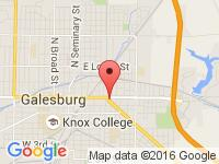 Map of Hughes Auto Group at 1080 East Main Street, Galesburg, IL 61401-3960