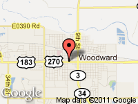 Map of G/T Auto Sales at 1221 Oklahoma Ave, Woodward, OK 73801