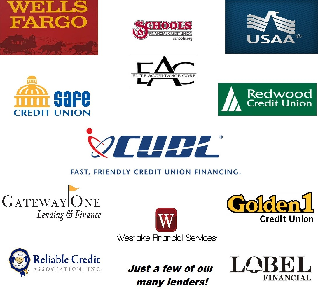 Image of Lenders Logo: Wells Fargo, Schools Financial Credit Union, USAA, Safe Credit Union, Elite Acceptance Corp, Redwood Credit Union, CUDL, Gateqy One, Westlake Financial Services, Golden1, Label Financial, Reliable Credit | Just a few of many lenders