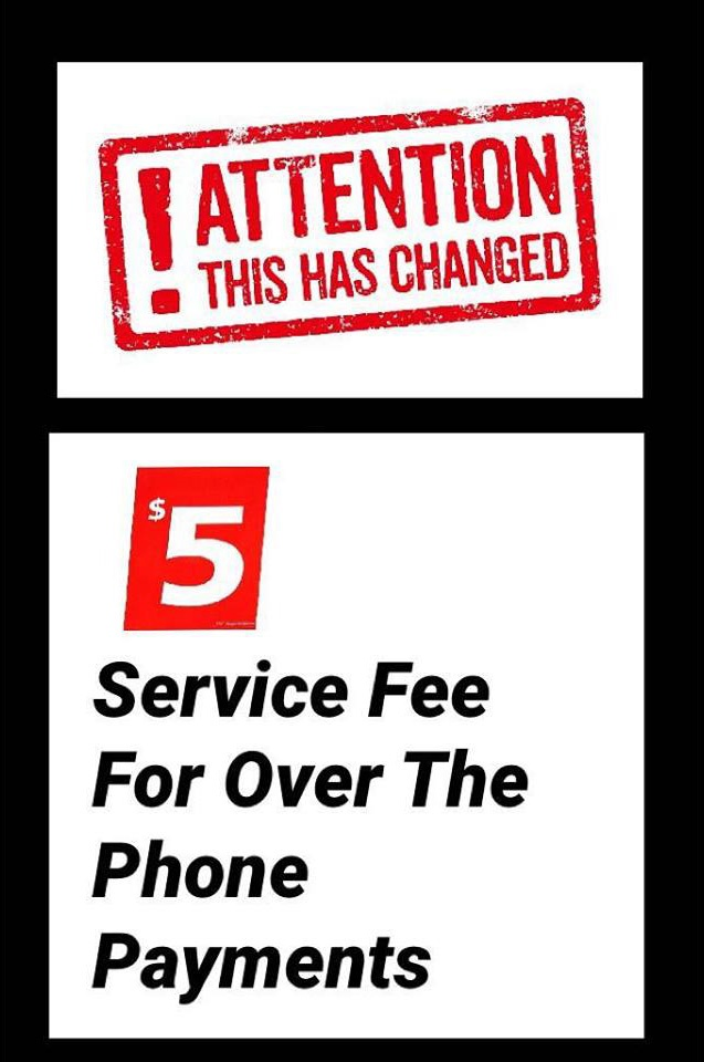 Service Fee for over the phone payments