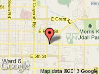Map of Too Hot Motors at 5974 E. Speedway Blvd., Tucson, AZ 85712