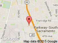 Map of Auto Express at 5850 FRANKLIN BLVD, Sacramento, CA 95824