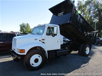 2001 International 4900 Series DT466E Diesel Single Cab 14 Foot High Sided Dump Truck