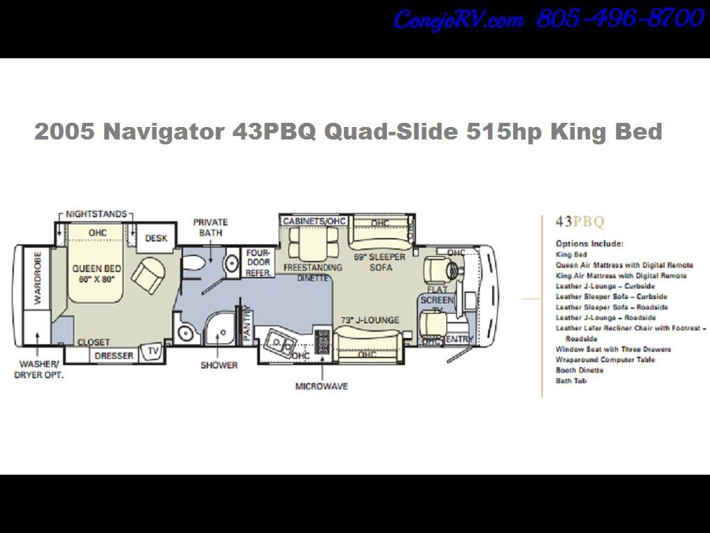 2005 Monaco Holiday Rambler Navigator 43PBQ Quad-Slide 515hp - Photo 49 - Thousand Oaks, CA 91360