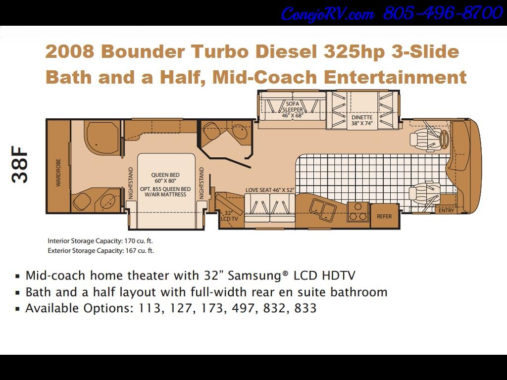 2008 Fleetwood Bounder 38F 325hp Diesel Pusher 3-Slide 1.5 Bath - Photo 46 - Thousand Oaks, CA 91360