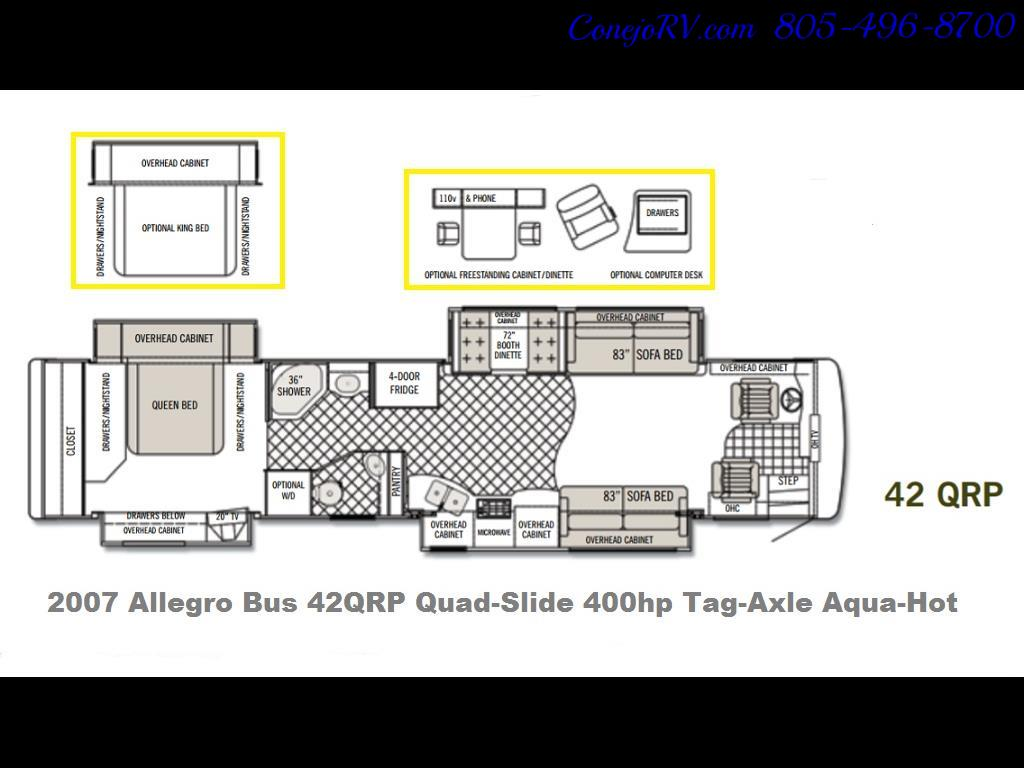 2007 Tiffin Allegro Bus 42QRP 4-Slide King Bed 400hp - Photo 44 - Thousand Oaks, CA 91360