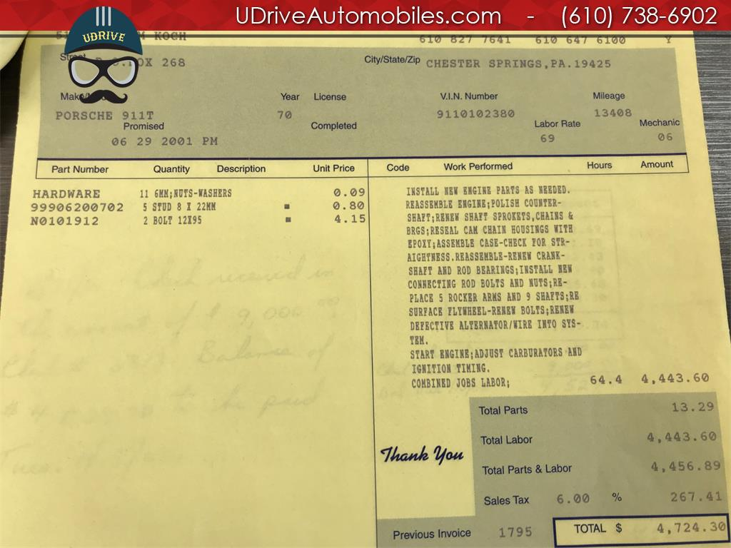 1970 Porsche 911 911T Detailed Service History 1 Owner Video - Photo 57 - West Chester, PA 19382