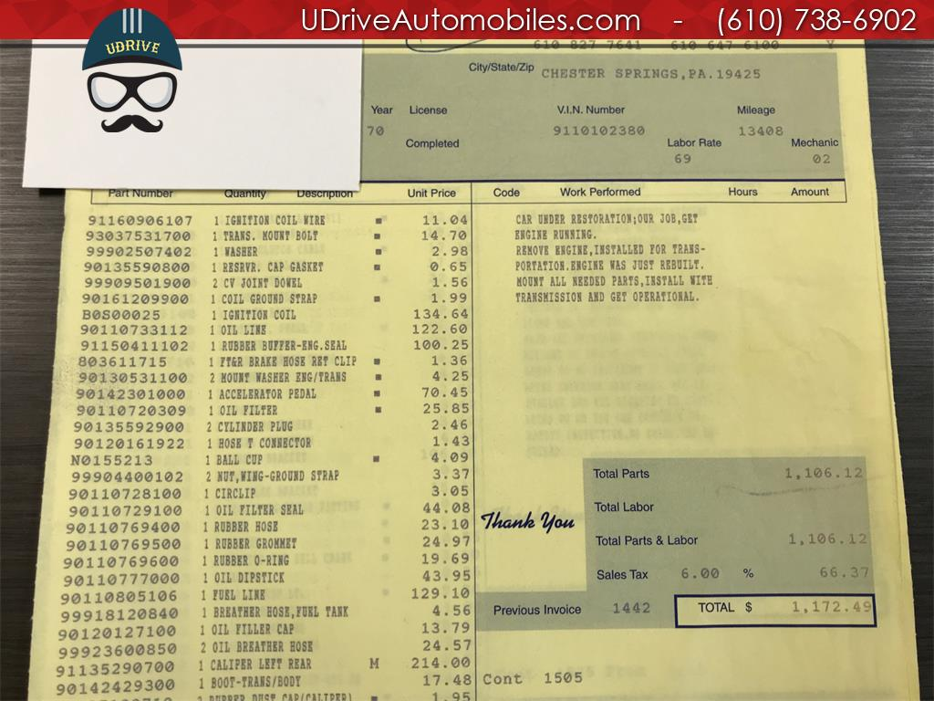 1970 Porsche 911 911T Detailed Service History 1 Owner Video - Photo 53 - West Chester, PA 19382