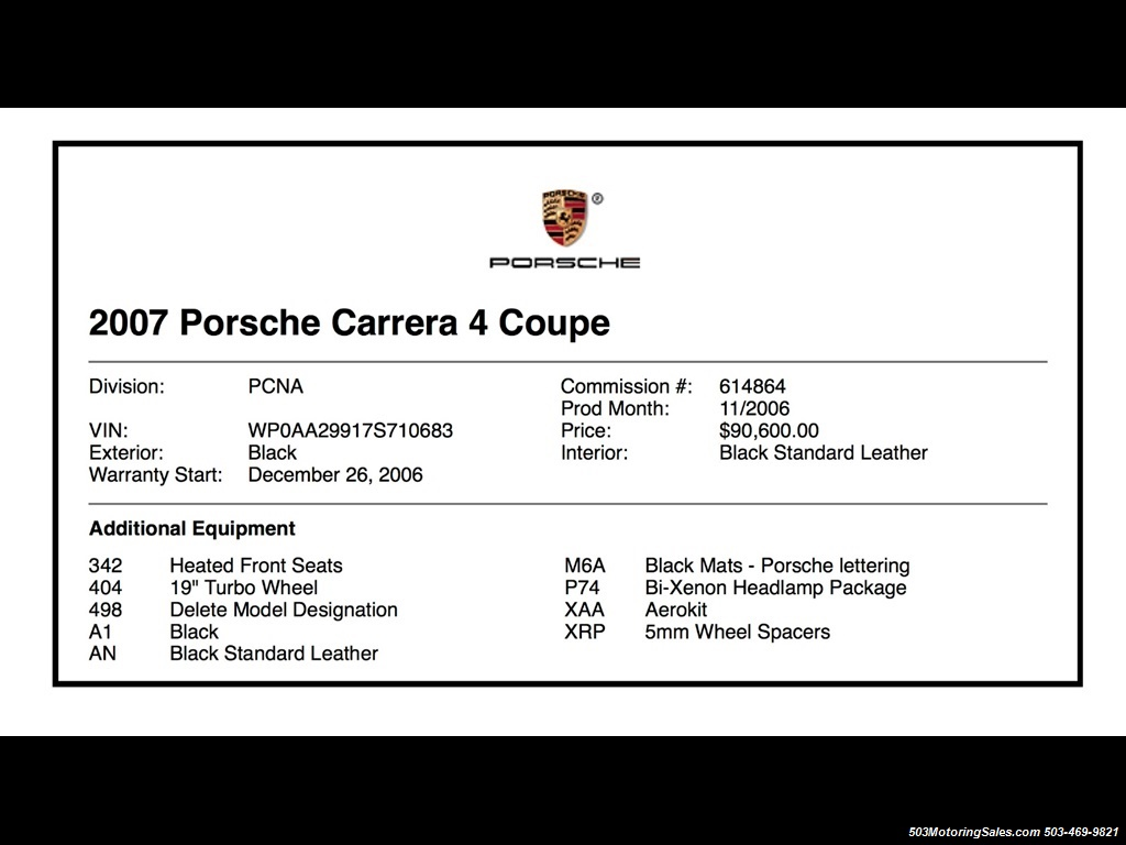 2007 Porsche 911 Carrera 4; Black/Black w/ Factory Aerokit! - Photo 11 - Beaverton, OR 97005