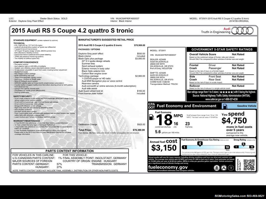 2015 Audi RS 5 4.2 quattro; One Owner w/ 10k Miles! - Photo 58 - Beaverton, OR 97005