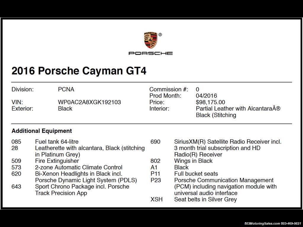2016 Porsche Cayman GT4; Black w/ Full Buckets & Only 895 Miles! - Photo 58 - Beaverton, OR 97005