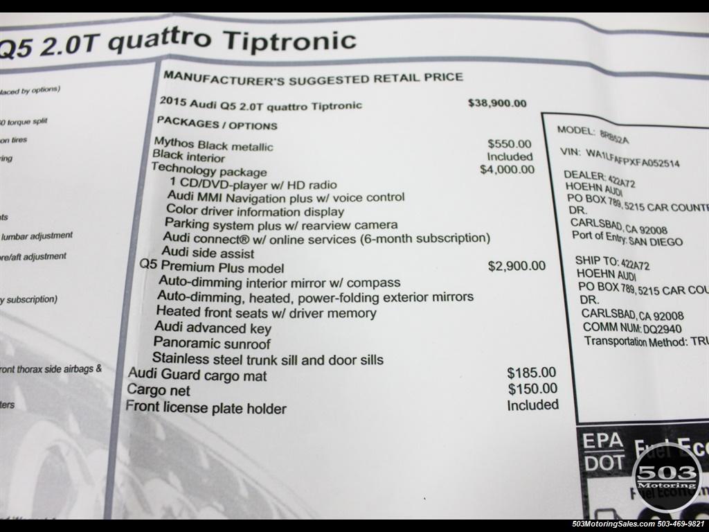 2015 Audi Q5 2.0T quattro Premium Plus; Black/Black w/ 23k! - Photo 52 - Beaverton, OR 97005